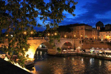 evening walk on the river tiber
